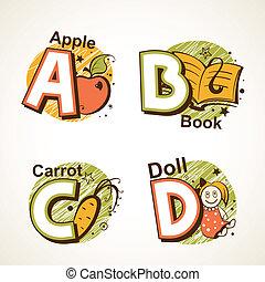 Alphabet set from A to D