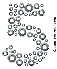 Alphabet set letter number five or 5, Engineering Gear pattern, Teamwork system concept design illustration isolated on white background, vector eps 10