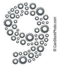 Alphabet set letter number nine or 9, Engineering Gear pattern, Teamwork system concept design illustration isolated on white background, vector eps 10