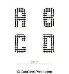 Alphabet set , vector illustration. block style.