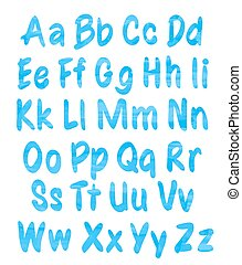 alphabet set with blue watercolor pattern