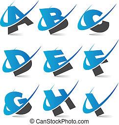 alphabet, set1, swoosh