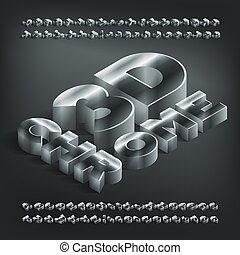 alphabet, shadow., chrome, isométrique, nombres, 3d, métallique, lettres, font.