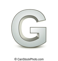 alphabet silver G - silver letter G isolated white...