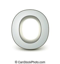 alphabet silver O - silver letter O isolated white ...