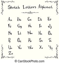 Alphabet Small Capital Letters Collection Sketch Hand Drawn Set