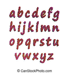 alphabet small letter by red flowers white background