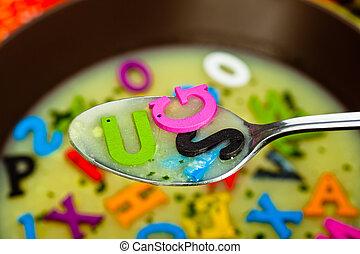 Alphabet soup  - A hot- alphabet soup dish