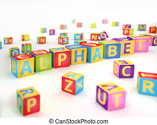 Alphabet spelled by abc cubes