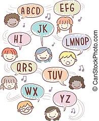 alphabet, stickman, gosses, rime, illustration