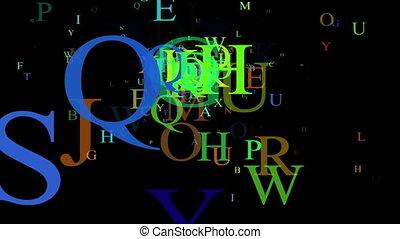 Alphabet, isolated on black background, loop