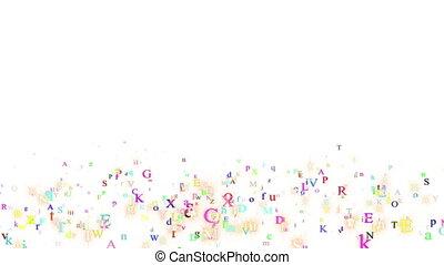 Alphabet, isolated on white background, loop