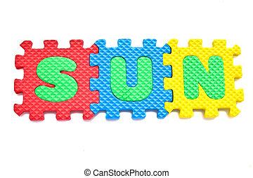 "Alphabet ""sun"" Puzzle Pieces on White Background"