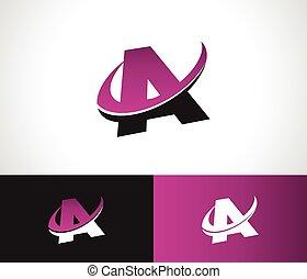 alphabet, swoosh, ikone