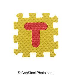 Alphabet T puzzle pieces on white background