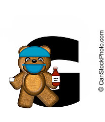 Alphabet Teddy Dental Checkup G - The letter G, in the...