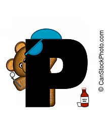 Alphabet Teddy Dental Checkup P - The letter P, in the...