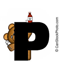 Alphabet Teddy Dental Checkup PP - The letter P, in the...