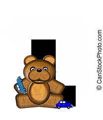 Alphabet Teddy Driving Cars L