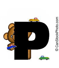 Alphabet Teddy Driving Cars P