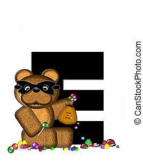 Alphabet Teddy Halloween Treats E