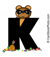 Alphabet Teddy Halloween Treats K
