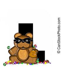 Alphabet Teddy Halloween Treats L