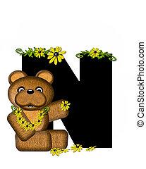 Alphabet Teddy Making Daisy Chain N