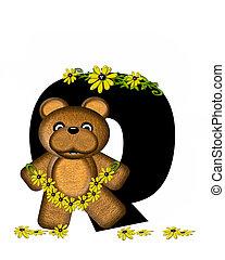 Alphabet Teddy Making Daisy Chain Q