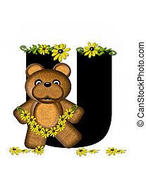 Alphabet Teddy Making Daisy Chain U