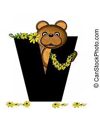 Alphabet Teddy Making Daisy Chain V