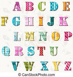 alphabet, textured