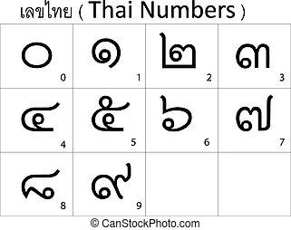 alphabet, thaï, nombre