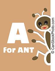 alphabet, tier, ameise