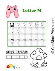 alphabet to be color, mushroom