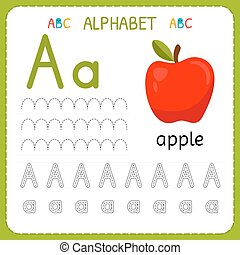 Alphabet tracing worksheet for preschool and kindergarten. Writing practice letter A. Exercises for kids