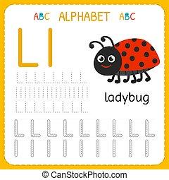 Alphabet tracing worksheet for preschool and kindergarten. Writing practice letter L. Exercises for kids