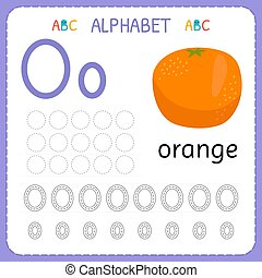Alphabet tracing worksheet for preschool and kindergarten. Writing practice letter O. Exercises for kids