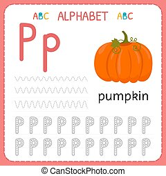 Alphabet tracing worksheet for preschool and kindergarten. Writing practice letter P. Exercises for kids