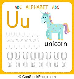 Alphabet tracing worksheet for preschool and kindergarten. Writing practice letter U. Exercises for kids