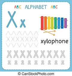 Alphabet tracing worksheet for preschool and kindergarten. Writing practice letter X. Exercises for kids