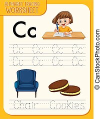 Alphabet tracing worksheet with letter and vocabulary illustration