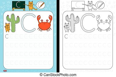Worksheet for practicing letter writing - tracing letter C