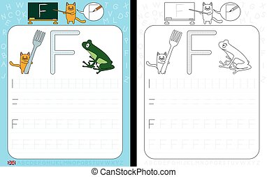 Worksheet for practicing letter writing - tracing letter F