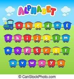 alphabet., train., vektor, font., kicsi, letter., karikatúra