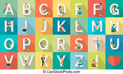 Alphabet Vacation Vector Flat Design Concept