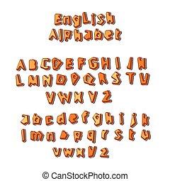 alphabet, vecteur, anglaise