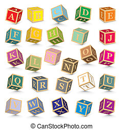 alphabet, vecteur, blocs