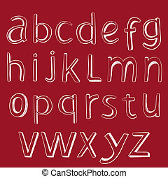 alphabet., vecteur, conception, handmaid