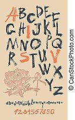 alphabet, vecteur, dessiné, nombres, main